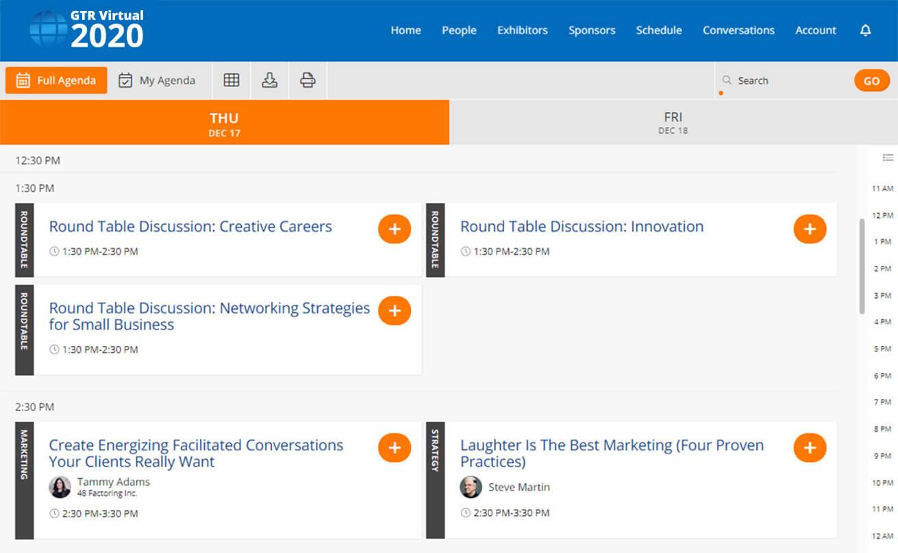 virtual conference agenda