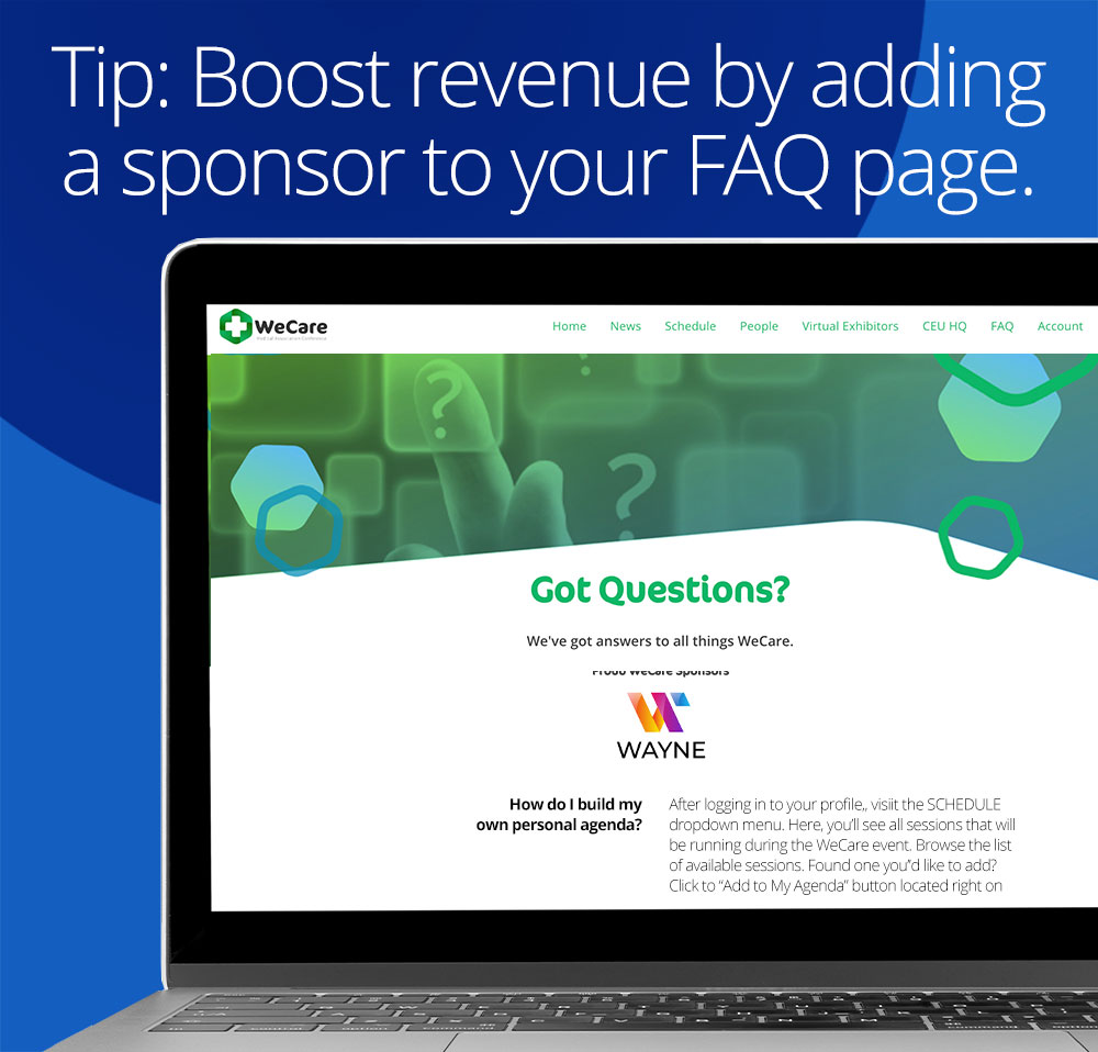 tip: boost revenue by adding a sponsor to your FAQ page