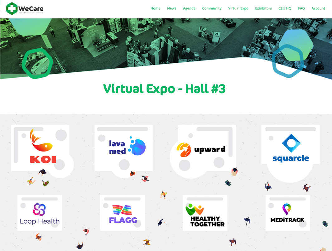 a virtual tradeshow hall with booths that link to company pages